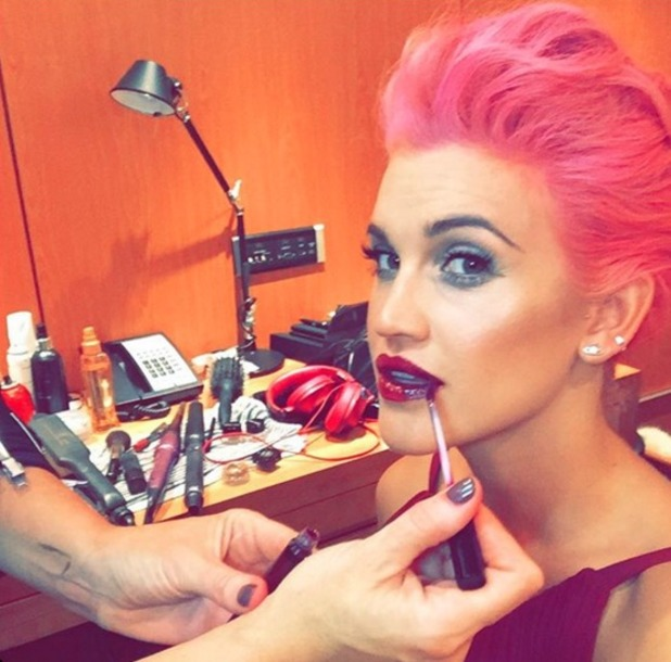 Ashley Roberts, getting her hair and make-up done by Lisa Laudat, before the Daily Mirror and RSPCA Animal Hero Awards, 21 October 2015