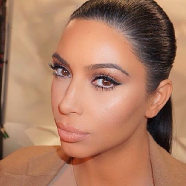 Kim Kardashian wears cat-eye flick and shares selfie to Instagram 21st October 2015
