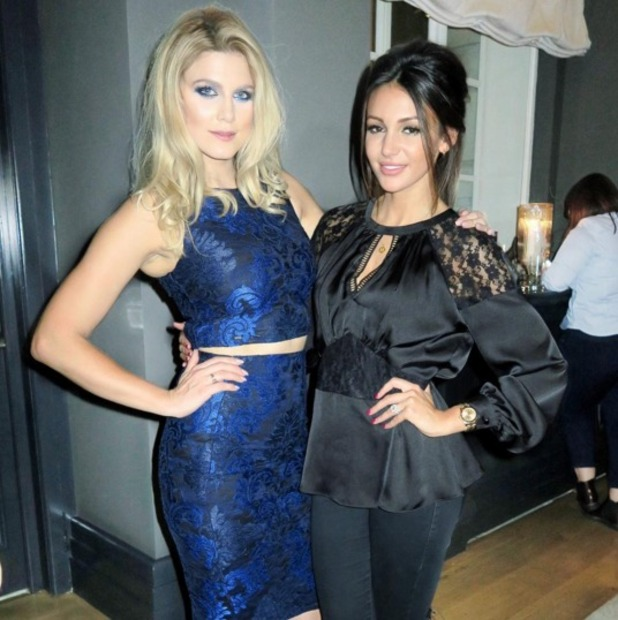 Ashley James wears stunning blue eye make-up and Michelle Keegan for Lipsy dress to Michelle Keegan/Lipsy launch, 21 October 2015