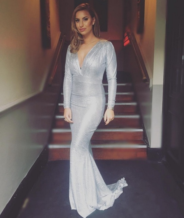 Ferne McCann stuns in silver as the Towie Cast film Michael Hassini James Bond 21st birthday party at Sugar Hut, 21st October 2015