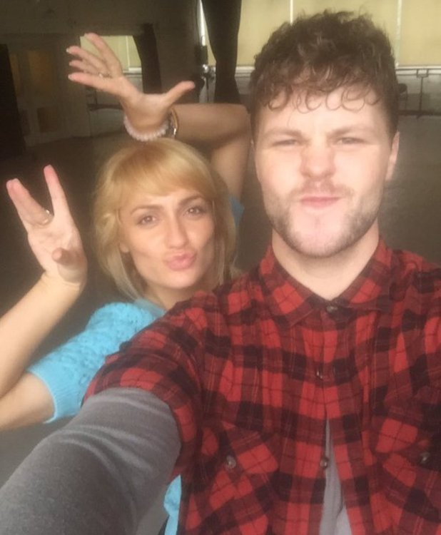 Jay McGuiness and Aliona Vilani behind the scenes on Strictly, 24 October 2015.