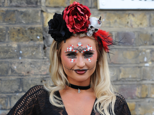 TOWIE's Billie Faiers films Mexican Day of the Dead party. 28 October 2015.