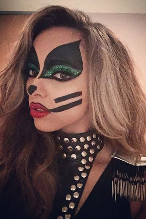Jade Thirlwall shows off Halloween make-up at Kiss FM's Haunted House Party at SSE Wembley Arena - Red Carpet Arrivals, 29th October 2015