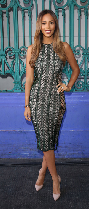 Rochelle Humes poses in embellished dress at London Fashion Week, London, 28th October 2015