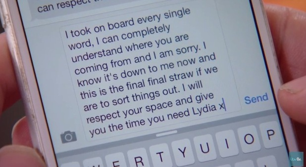 TOWIE episode to air 28 Oct 2015 Arg responds to Lydia's text message.