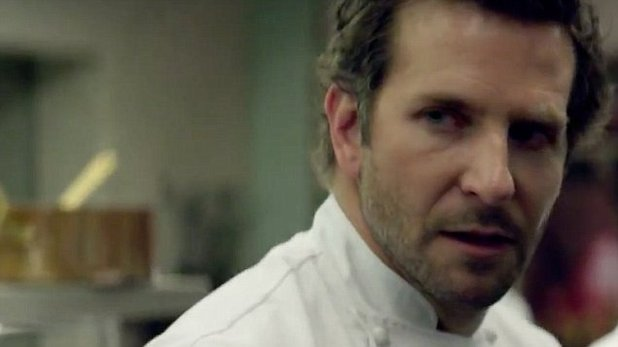 Still from the film Burnt. Bradley Cooper stars as Adam James. Close-up image of portrait.