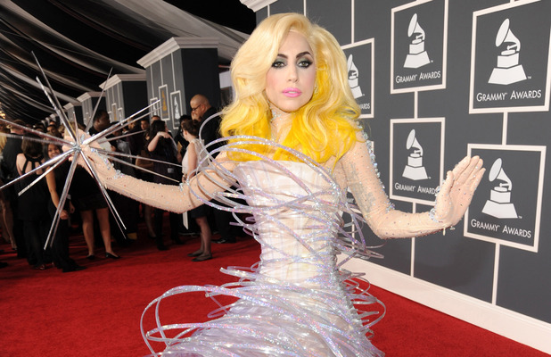 Lady Gaga shows off yellow hair at the Grammy Awards in Los Angeles 31st January 2010
