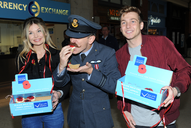 Members of the Made in Chelsea cast serve Poppy cupcakes to hardworking uniformed collectors and join in the fundraising at London's Victoria Station, to a backdrop of music from The Band of The Brigade of Gurkhas.