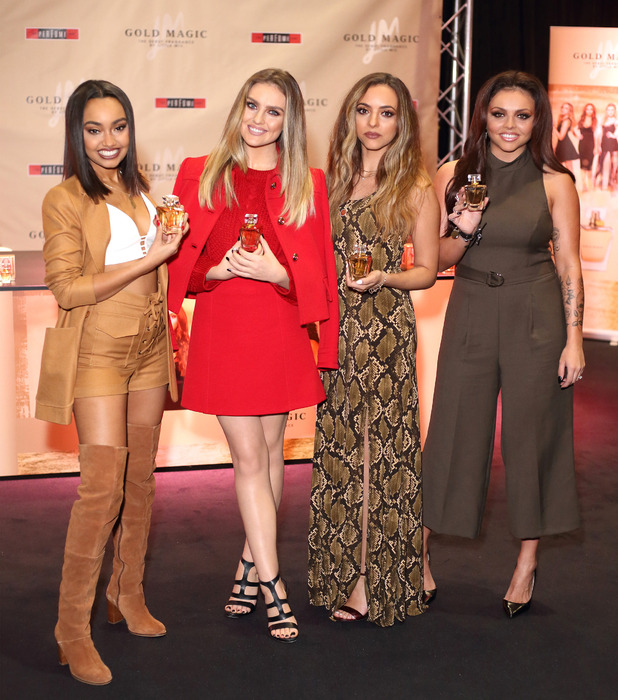 Little Mix's Jade Thirlwall, Perrie Edwardsm Jesy Nelson and Leigh-Anne Pinnock at their Gold Magic fragrance launch at Bluewater shopping centre in Kent, 27th October 2015