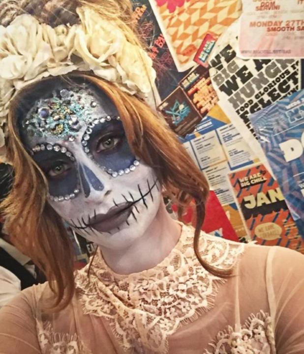 Ferne McCann's 'candy skull' make-up for Halloween, 29 October 2015