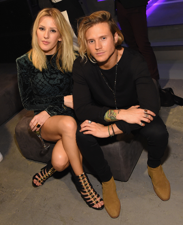 Singer Ellie Goulding and Dougie Poynter attend the BALMAIN X H&M Collection Launch at 23 Wall Street on October 20, 2015 in New York City.