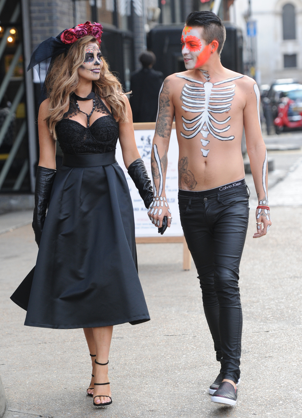 TOWIE's Bobby Norris and Jessica Wright filming Mexican Day of the Dead Halloween themed party - 28 October 2015.