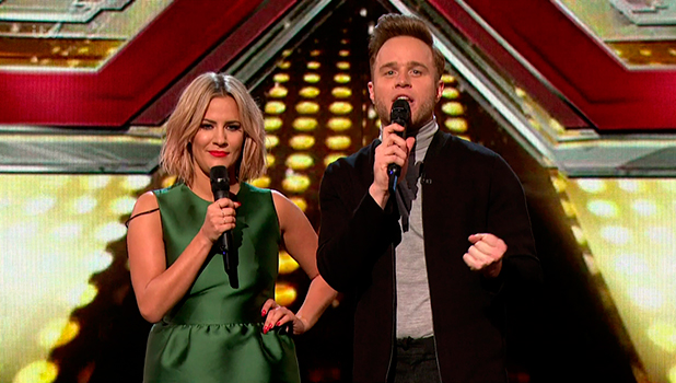 Caroline Flack and Olly Murs presenting the Judges' Houses stage of 'The X Factor'. Broadcast on ITV1 HD.