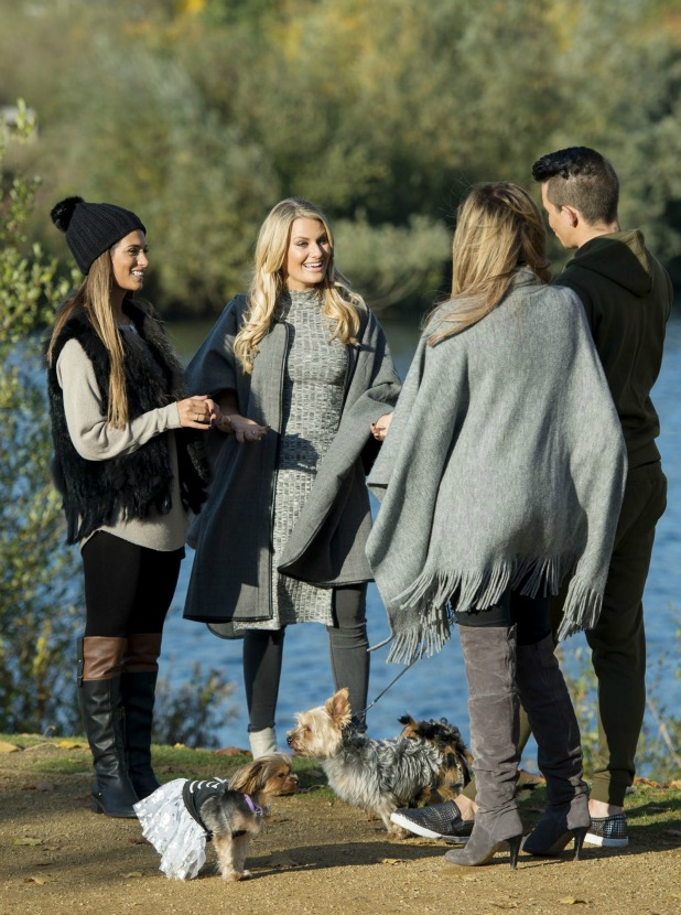 'The Only Way is Essex' cast filming, Britain - 26 Oct 2015 Danielle Armstrong, Nicole Bass, Jessica Wright and Bobby Cole Norris