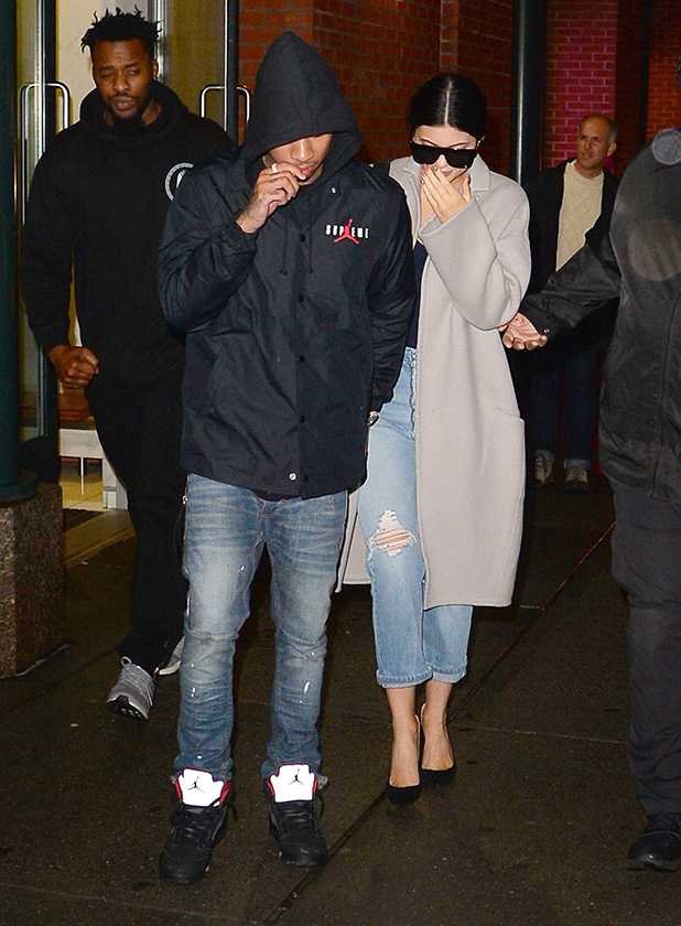Kylie Jenner and Tyga are seen in Soho on October 28, 2015 in New York City. (Photo by Raymond Hall/GC Images)