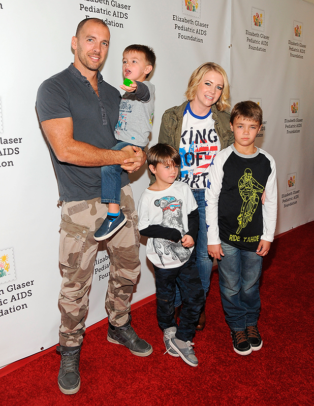 Melissa Joan Hart with husband Mark Wilkerson and their children Braydon Hart Wilkerson, Mason Walter Wilkerson, Tucker McFadden Wilkerson attend the Elizabeth Glaser Pediatric AIDS Foundation's 26th Annual A Time for Heroes family festival at Smashbox Studios on October 25, 2015 in Culver City, California. (Photo by Angela Weiss/Getty Images for Elizabeth Glaser Pediatric AIDS Foundation)
