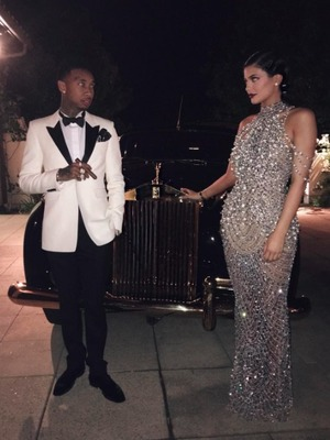 Kylie Jenner and Tyga dress up in 20s style for mum Kris Jenner's birthday party, 6 November 2015.