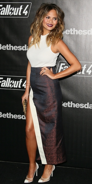 Chrissy Teigen attends the Fallout 4 video game launch event in downtown Los Angeles 5 November