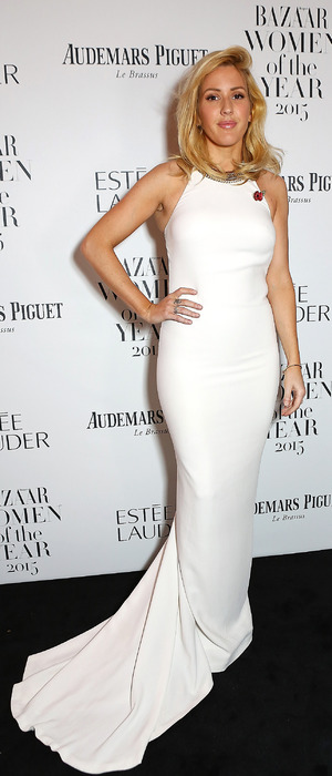 Ellie Goulding wears white gown at the Harpers Bazaar Women of The Year Awards party in London, 4th November 2015