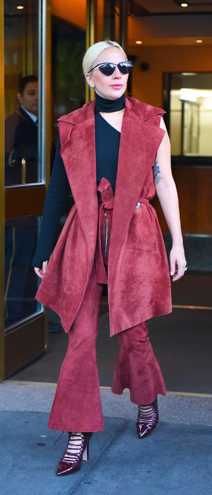 Lady Gaga out and about in New York wearing burgundy co-ords, 4th November 2015