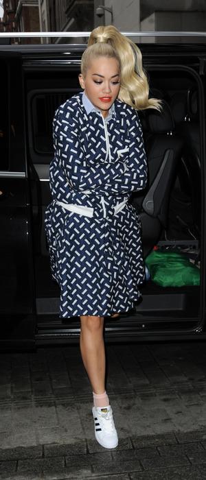 Rita Ora arrives at BBC Radio 1 HQ in London with Sigma, 5th November 2015