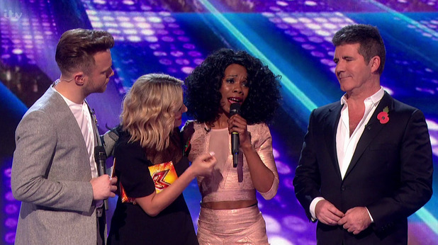 Bupsi after it was announced that she had been eliminated on the results show following the first live show of 'The X Factor'. 1 November 2015.