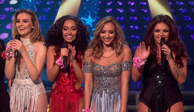 Little Mix after performing on the results show following the first live show of 'The X Factor'. Broadcast on ITV1 HD. 1 November 2015.