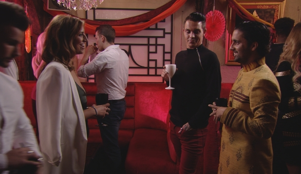 TOWIE's Liam Blackwell and Ferne McCann laugh together at the party. Episode airs Sunday 8 November 2015.