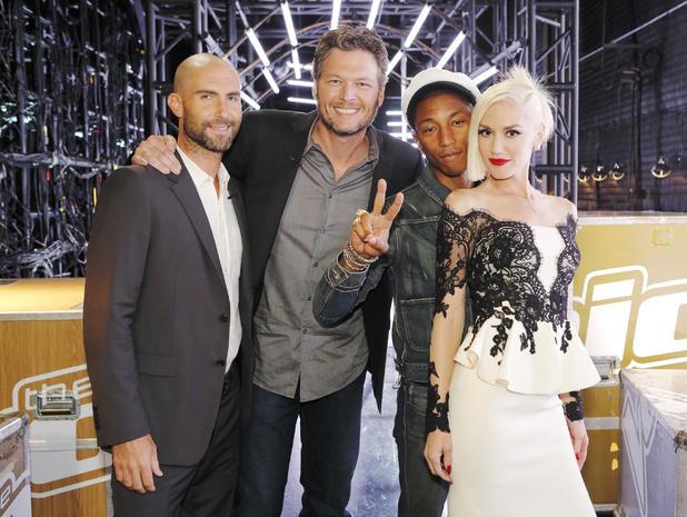The Voice US - Knockout Rounds' - Adam Levine, Blake Shelton, Pharrell Williams, Gwen Stefani. 24 August 2015.