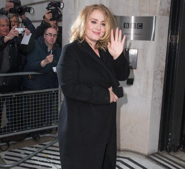 Adele arrives at Radio 2, BBC Studios, London 23 October