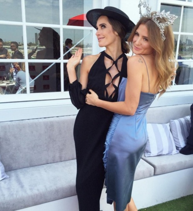Millie Mackintosh and Louise Roe at the Melbourne Cup, Tuesday 3 November 2015