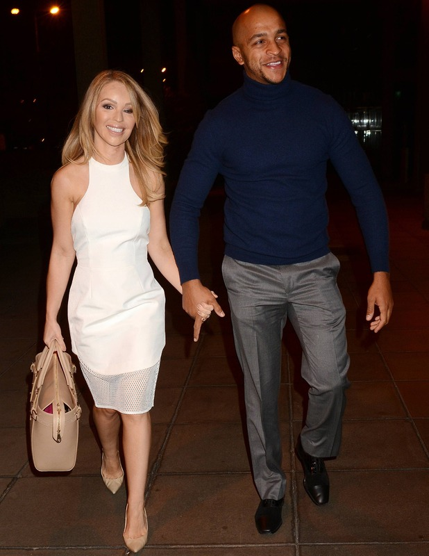 Katie Piper and Richard Sutton arrive at 'The Saturday Night Show' studios, 24 January 2015.