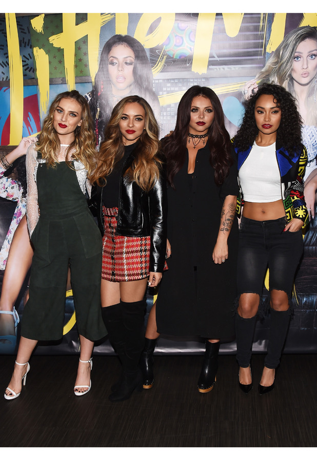 Little Mix pose at album signing in Los Angeles, 4th November 2015