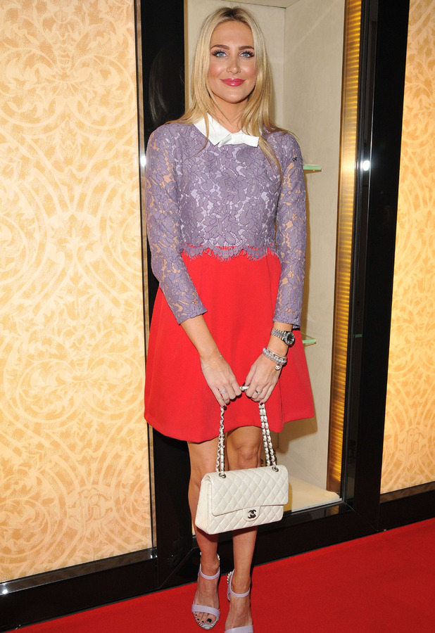 MIC's Stephanie Pratt shows off Chanel Clutch bag at Disaronno Wears Cavalli party in London 5th November 2015