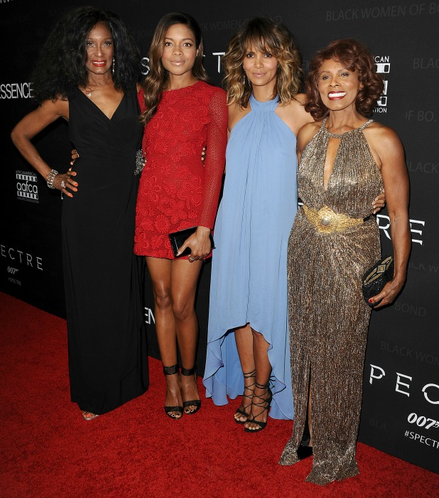 Trina Parks, Naomie Harris, Halle Berry, and Gloria Hendry attend the Black Women of Bond Tribute at the California African American Museum on November 3, 2015 in Los Angeles, California.