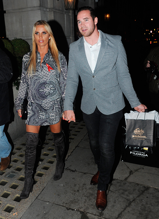 Katie Price and her husband Kieran Hayler are seen arriving at Smith & Wollensky restaurant for the Terrence Higgins Trust Dinner and Party.