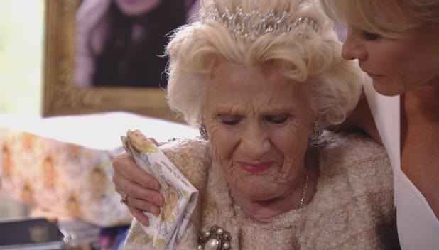 TOWIE's A tearful Nanny Pat on her 80th birthday. Episode airs: 11 November 2015.