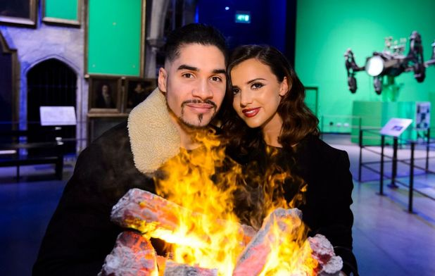 Louis Smith and Lucy Mecklenburgh at Hogwarts in the Snow at Warner Bros. Studio Tour London – The Making of Harry Potter. 12 November 2015.