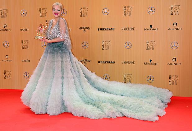 Rita Ota attends the Bambi Awards 2015 in Germany, wearing Marchesa dress 13th November 2015