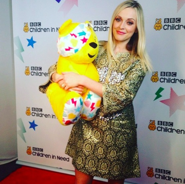 Fearne Cotton cuddles Pudsey on Children In Need, 13 N0vember 2015.