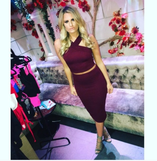 TOWIE's Danielle Armstrong shows off her autumnal co-ords from AX Paris, 13th November 215