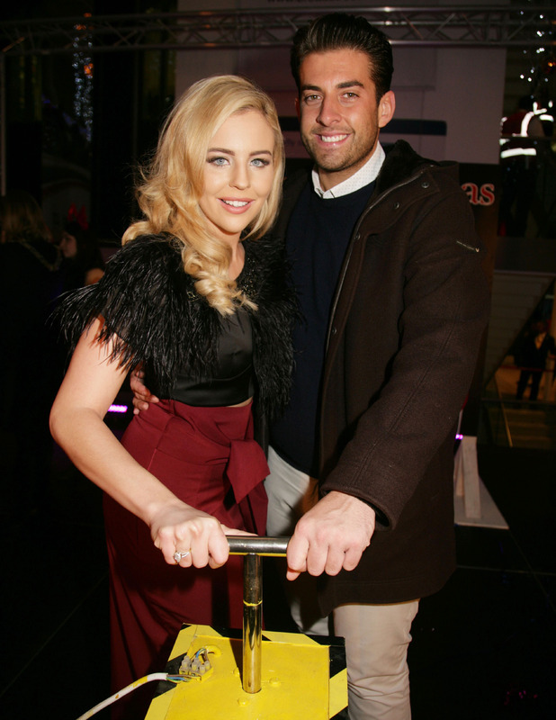 Lydia Bright and James 'Arg'Argent turn on the Christmas lights in Reading, 14 November 2015.