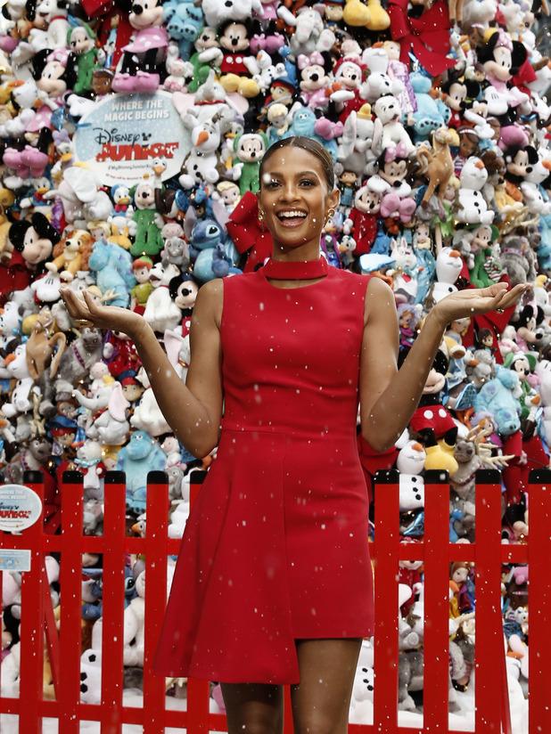 Alesha Dixon unveils 14-metre high Disney Christmas tree at St Pancras Station made entirely of Disney Junior stuffed toys - 12 November 2015.
