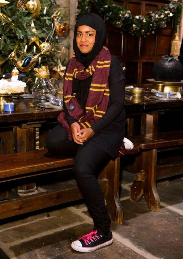 Nadiya Hussain at Hogwarts in the Snow at Warner Bros. Studio Tour London – The Making of Harry Potter. 12 November 2015.