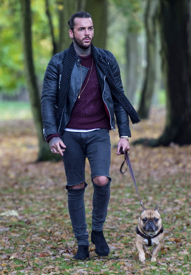 'The Only Way is Essex' cast filming, Britain - Peter Wicks and dog Ernest 5 Nov 2015