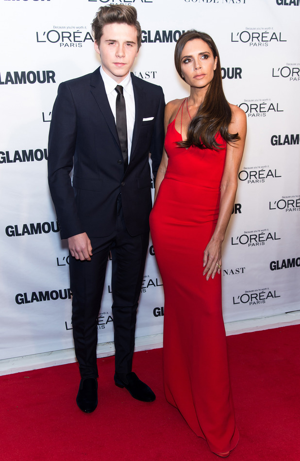 Victoria Beckham and Brooklyn Beckham at the Glamour Women of The Year Awards 2015, in New York City, 10th November 2015
