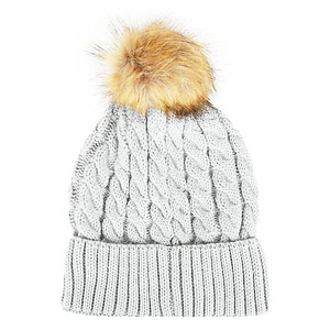 New Look grey and faux fur bobble hat £7.99 19th November 2015