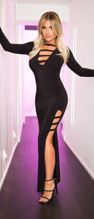 TOWIE's Billie Faiers launches clothing collection with In The Style, black maxi dress, 17th November 2015
