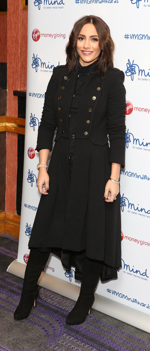 Frankie Bridge poses in all-black outfit at the Mind Media Awards 2015, 17th November 2015