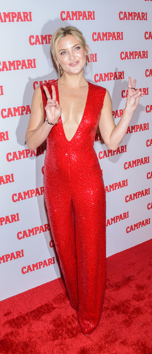 Kate Hudson poses in red sequin jumpsuit at the Campari Calendar launch party in New York City, 19th November 2015